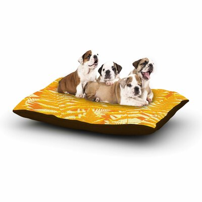 Jacqueline Milton Fun Fern Floral Dog Pillow with Fleece Cozy Top Color: Citrus/Orange/Gold