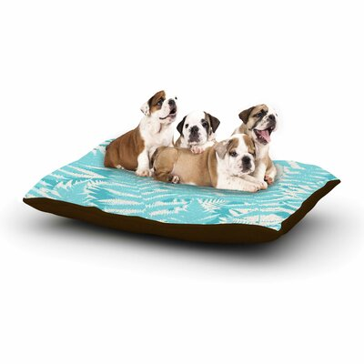 Jacqueline Milton Fun Fern Floral Dog Pillow with Fleece Cozy Top Color: Sky/Blue/Aqua