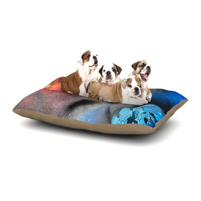 Infinite Spray Art Sun VS. Moon Planet Dog Pillow with Fleece Cozy Top Size: Small (40 W x 30 D x 8 H)