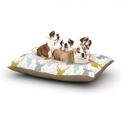 Pellerina Design Scattered Deer Dog Pillow with Fleece Cozy Top Size: Small (40 W x 30 D x 8 H), Color: White/Gold