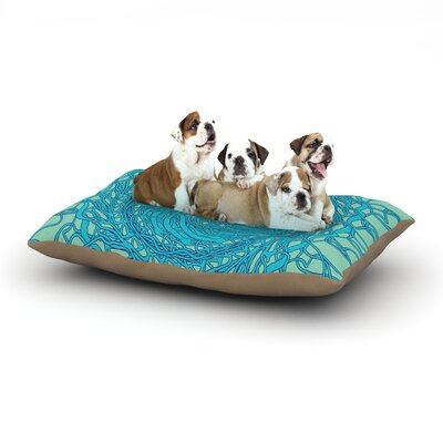 Patternmuse Mandala Spin Dog Pillow with Fleece Cozy Top Size: Large (50 W x 40 D x 8 H), Color: Mint/Green/Blue