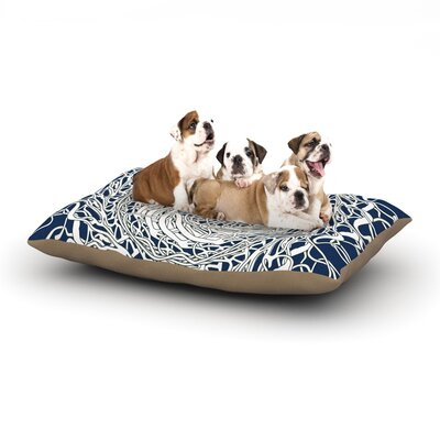 Patternmuse Mandala Spin Dog Pillow with Fleece Cozy Top Size: Large (50 W x 40 D x 8 H), Color: Navy/Blue/White