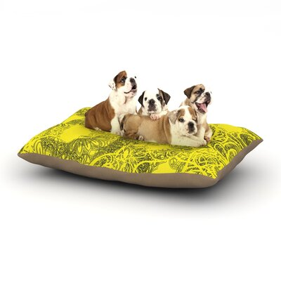 Patternmuse Mandala Lemon Dog Pillow with Fleece Cozy Top Size: Large (50 W x 40 D x 8 H)