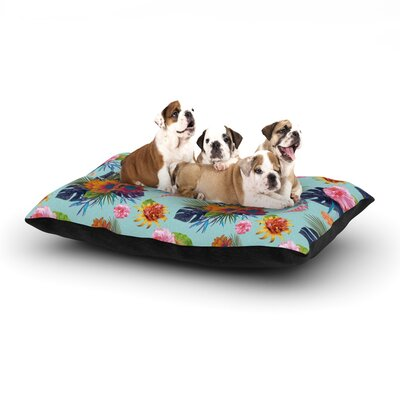 Nika Martinez Tropical Floral Flowers Dog Pillow with Fleece Cozy Top Size: Small (40 W x 30 D x 8 H)