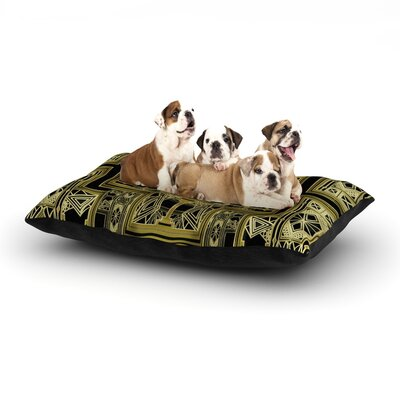 Nika Martinez Golden Art Deco Dog Pillow with Fleece Cozy Top Size: Small (40 W x 30 D x 8 H)