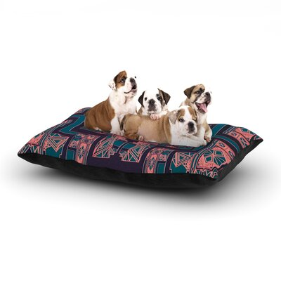 Nika Martinez Golden Art Deco Dog Pillow with Fleece Cozy Top Size: Small (40 W x 30 D x 8 H), Color: Blue/Coral