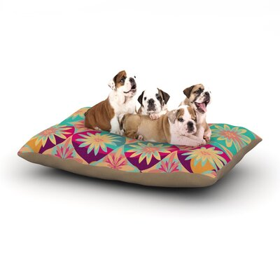 Nika Martinez Happy Flowers Floral Abstract Dog Pillow with Fleece Cozy Top Size: Small (40 W x 30 D x 8 H)