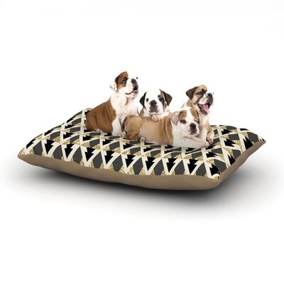 Nika Martinez Glitter Triangles in Gold & Black Geometric Dog Pillow with Fleece Cozy Top Size: Small (40 W x 30 D x 8 H)
