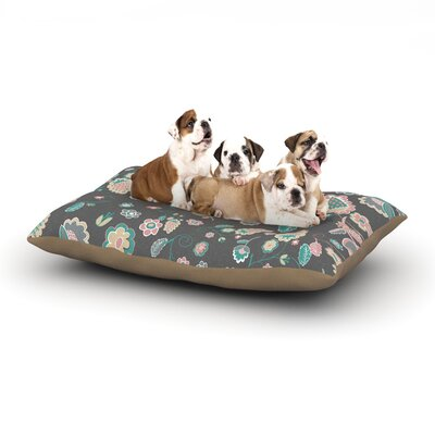 Nika Martinez Cute Winter Floral Dog Pillow with Fleece Cozy Top Size: Small (40 W x 30 D x 8 H)