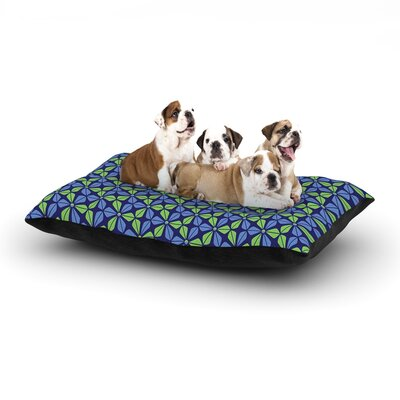 Nick Atkinson Infinite Flowers Dog Pillow with Fleece Cozy Top Color: Blue, Size: Large (50 W x 40 D x 8 H)