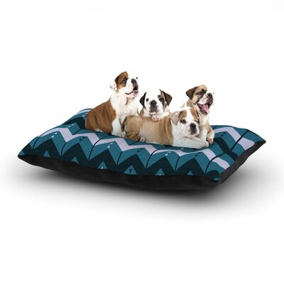 Nick Atkinson Chevron Dance Dog Pillow with Fleece Cozy Top Size: Small (40 W x 30 D x 8 H), Color: Blue