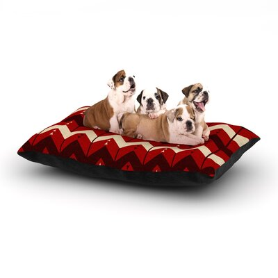Nick Atkinson Chevron Dance Dog Pillow with Fleece Cozy Top Color: Red, Size: Large (50 W x 40 D x 8 H)