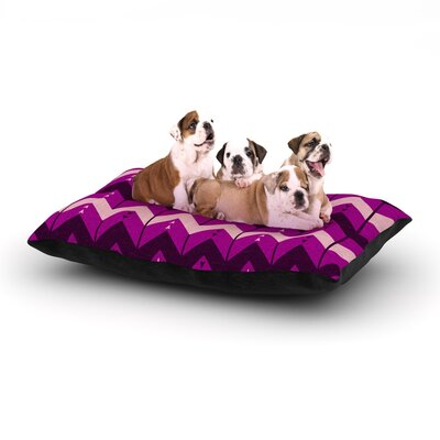 Nick Atkinson Chevron Dance Dog Pillow with Fleece Cozy Top Size: Large (50 W x 40 D x 8 H), Color: Purple