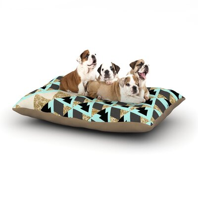 Nika Martinez Glitter Triangles in Gold & Teal Dog Pillow with Fleece Cozy Top Size: Large (50 W x 40 D x 8 H)
