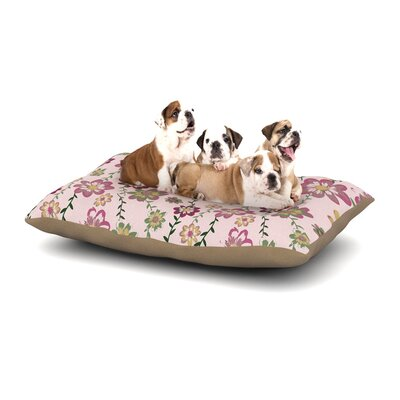 Nika Martinez Romantic Flowers Blush Floral Dog Pillow with Fleece Cozy Top Size: Small (40 W x 30 D x 8 H), Color: Pink