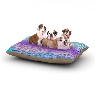 Nina May Drip Dye Cool Strid Pastel Geometry Dog Pillow with Fleece Cozy Top Size: Small (40 W x 30 D x 8 H)