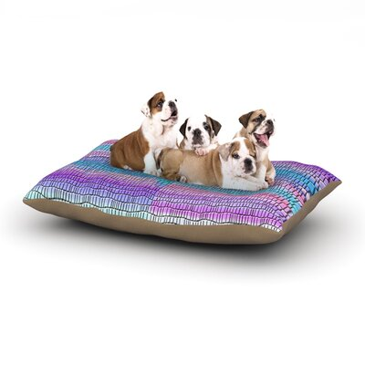 Nina May Drip Dye Strid Abstract Dog Pillow with Fleece Cozy Top Size: Large (50 W x 40 D x 8 H)