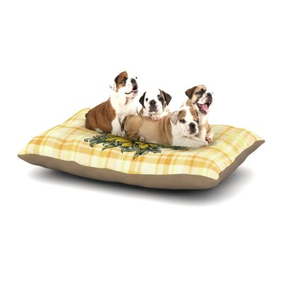 Nick Atkinson Sunflower Sunshine Dog Pillow with Fleece Cozy Top