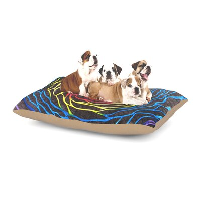 NL Designs Rainbow Vortex Illustration Dog Pillow with Fleece Cozy Top Size: Large (50 W x 40 D x 8 H)