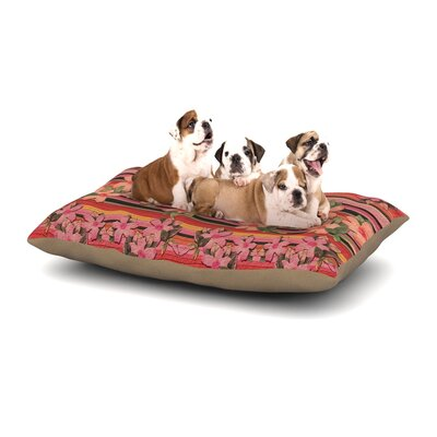 Nina May Peach Hibiscus Stripe Dog Pillow with Fleece Cozy Top Size: Small (40 W x 30 D x 8 H)
