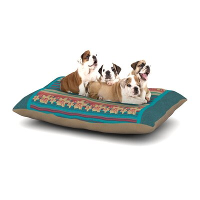 Nina May Mahalo Denim Stripe Floral Dog Pillow with Fleece Cozy Top Size: Large (50 W x 40 D x 8 H)