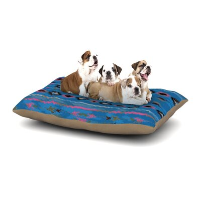 Nina May Navano Tribal Dog Pillow with Fleece Cozy Top Size: Large (50 W x 40 D x 8 H), Color: Blue