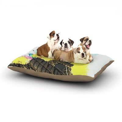 Oriana Cordero Eifel - Bon Jour Paris Dog Pillow with Fleece Cozy Top Size: Small (40 W x 30 D x 8 H)