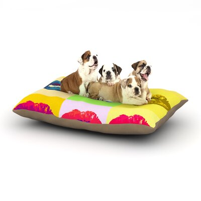 Oriana Cordero Pop Kiss Lips Dog Pillow with Fleece Cozy Top Size: Small (40 W x 30 D x 8 H)