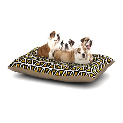 Pom Graphic Design Aztec Triangles Gold Dog Pillow with Fleece Cozy Top Size: Large (50 W x 40 D x 8 H)