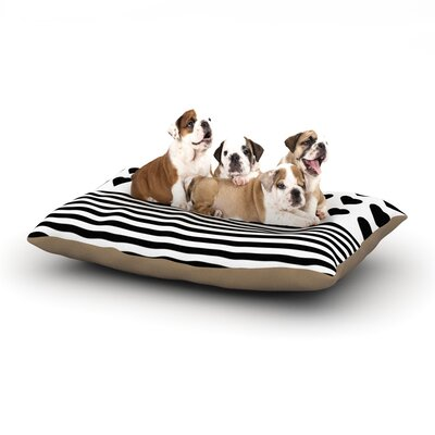 Project M Heart Stripes Monochrome Lines Dog Pillow with Fleece Cozy Top Size: Large (50 W x 40 D x 8 H), Color: Black/White