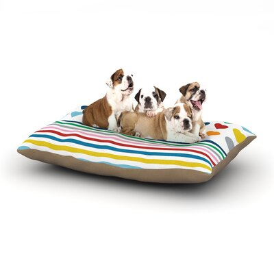 Project M Heart Stripes Monochrome Lines Dog Pillow with Fleece Cozy Top Size: Small (40 W x 30 D x 8 H), Color: Rainbow
