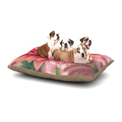 Robin Dickinson Be Happy Floral Dog Pillow with Fleece Cozy Top Size: Large (50 W x 40 D x 8 H)