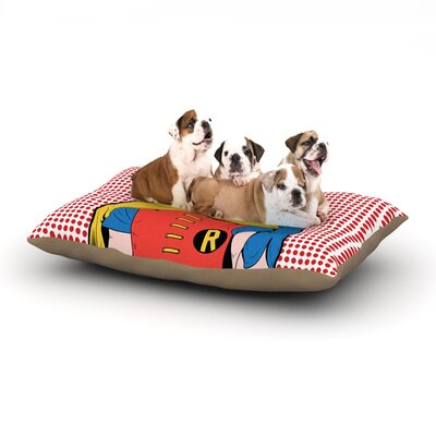Roberlan The Boy Wonder Pop Robin Dog Pillow with Fleece Cozy Top Size: Large (50 W x 40 D x 8 H)