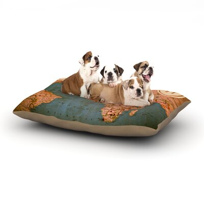 Ann Barnes Roam II World Map Dog Pillow with Fleece Cozy Top Size: Large (50 W x 40 D x 8 H)