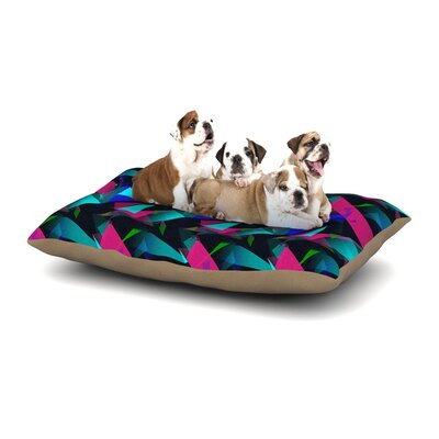 Alison Coxon Confetti Triangles Dog Pillow with Fleece Cozy Top Size: Small (40 W x 30 D x 8 H), Color: Magenta/Blue