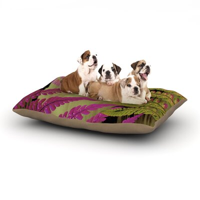 Alison Coxon Forest Fern Plant Dog Pillow with Fleece Cozy Top Size: Large (50 W x 40 D x 8 H), Color: Mauve/Pink/Brown
