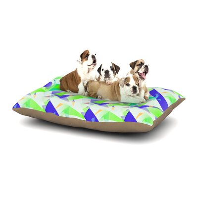 Alison Coxon Confetti Triangles Dog Pillow with Fleece Cozy Top Size: Small (40 W x 30 D x 8 H), Color: Blue/Green/Teal