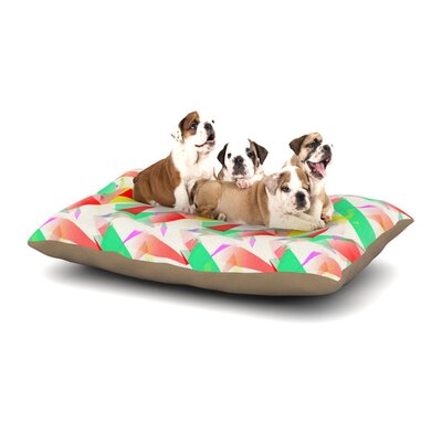 Alison Coxon Confetti Triangles Dog Pillow with Fleece Cozy Top Size: Small (40 W x 30 D x 8 H), Color: Green/Red