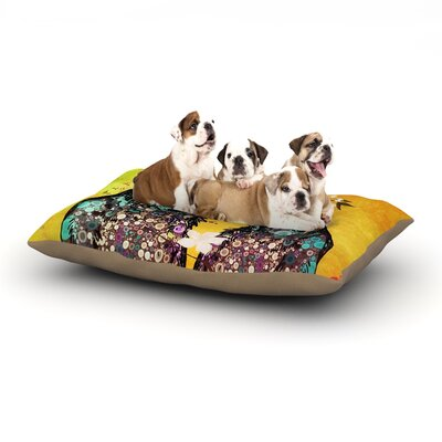 alyZen Moonshadow Birds in Love Dog Pillow with Fleece Cozy Top Size: Small (40 W x 30 D x 8 H), Color: Yellow/Orange/Gold