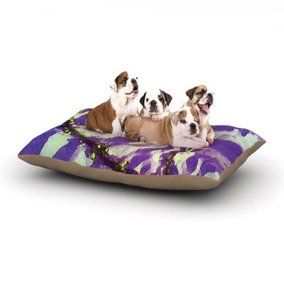 Anne LaBrie Tiger Love Dog Pillow with Fleece Cozy Top Size: Small (40 W x 30 D x 8 H), Color: Purple/Yellow