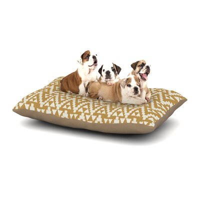 Amanda Lane Geo Tribal Dog Pillow with Fleece Cozy Top Size: Small (40 W x 30 D x 8 H), Color: Mustard/Yellow