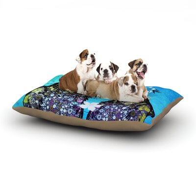 alyZen Moonshadow Birds in Love Dog Pillow with Fleece Cozy Top Size: Small (40 W x 30 D x 8 H), Color: Blue/Navy/Purple