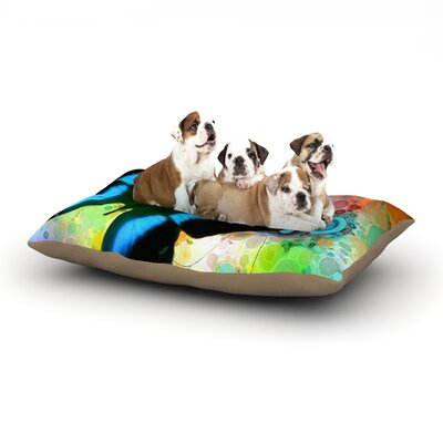 alyZen Moonshadow Colorful Blue Butterfly Dog Pillow with Fleece Cozy Top Size: Small (40 W x 30 D x 8 H)