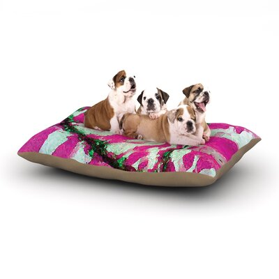 Anne LaBrie Tiger Love Dog Pillow with Fleece Cozy Top Size: Small (40 W x 30 D x 8 H), Color: Pink/Green