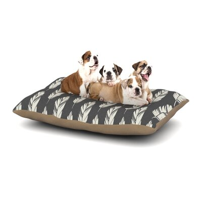 Amanda Lane Feathers Cream Dog Pillow with Fleece Cozy Top Size: Large (50 W x 40 D x 8 H), Color: Black/Cream