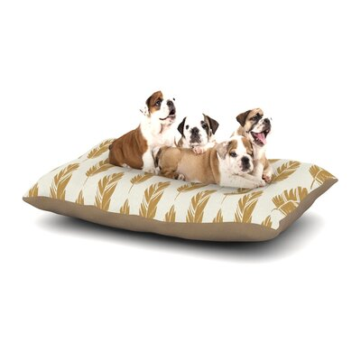 Amanda Lane Feathers Cream Dog Pillow with Fleece Cozy Top Size: Large (50 W x 40 D x 8 H), Color: Yellow/Cream/Mustard