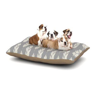 Amanda Lane Feathers Cream Dog Pillow with Fleece Cozy Top Size: Large (50 W x 40 D x 8 H), Color: Gray/Cream
