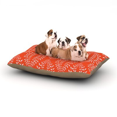 Anneline Sophia Laurel Leaf Floral Dog Pillow with Fleece Cozy Top Size: Large (50 W x 40 D x 8 H), Color: Orange/Red