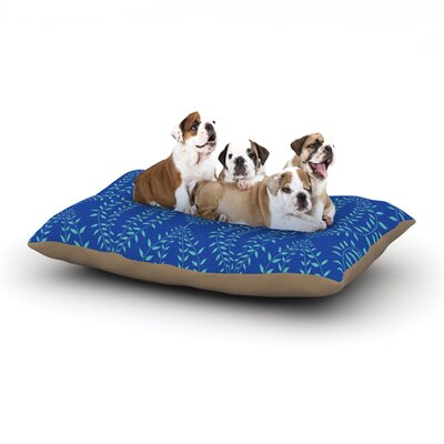 Anneline Sophia Laurel Leaf Floral Dog Pillow with Fleece Cozy Top Size: Small (40 W x 30 D x 8 H), Color: Blue/Navy