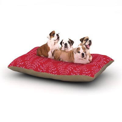 Anneline Sophia Laurel Leaf Floral Dog Pillow with Fleece Cozy Top Size: Large (50 W x 40 D x 8 H), Color: Red/Maroon